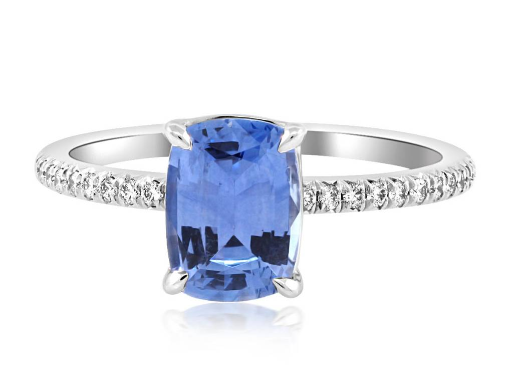 Trabert Goldsmiths 1.50ct Sapphire Cushion Cut Ring