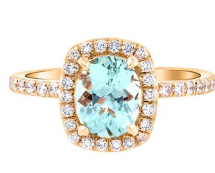 Trabert Goldsmiths 1.15ct Mint Green Goddess Aqua Ring E1648
