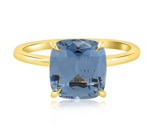 Trabert Goldsmiths 3.04ct Blue Cushion Cut Spinel Aura Ring E1636
