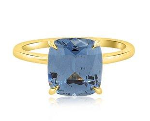 Trabert Goldsmiths 3.04ct Blue Cushion Cut Spinel Aura Ring E1636