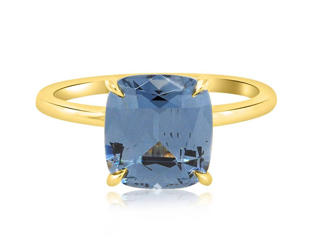 Trabert Goldsmiths 3.04ct Blue Cushion Cut Spinel Aura Ring