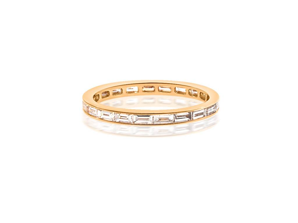 Trabert Goldsmiths Rose Gold Diamond Baguette Eternity Band