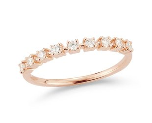 Dana Rebecca Delicate Half Diamond Rose Gold Band DR18