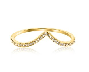V Shaped Pave Diamond Yellow Gold Ring LN34
