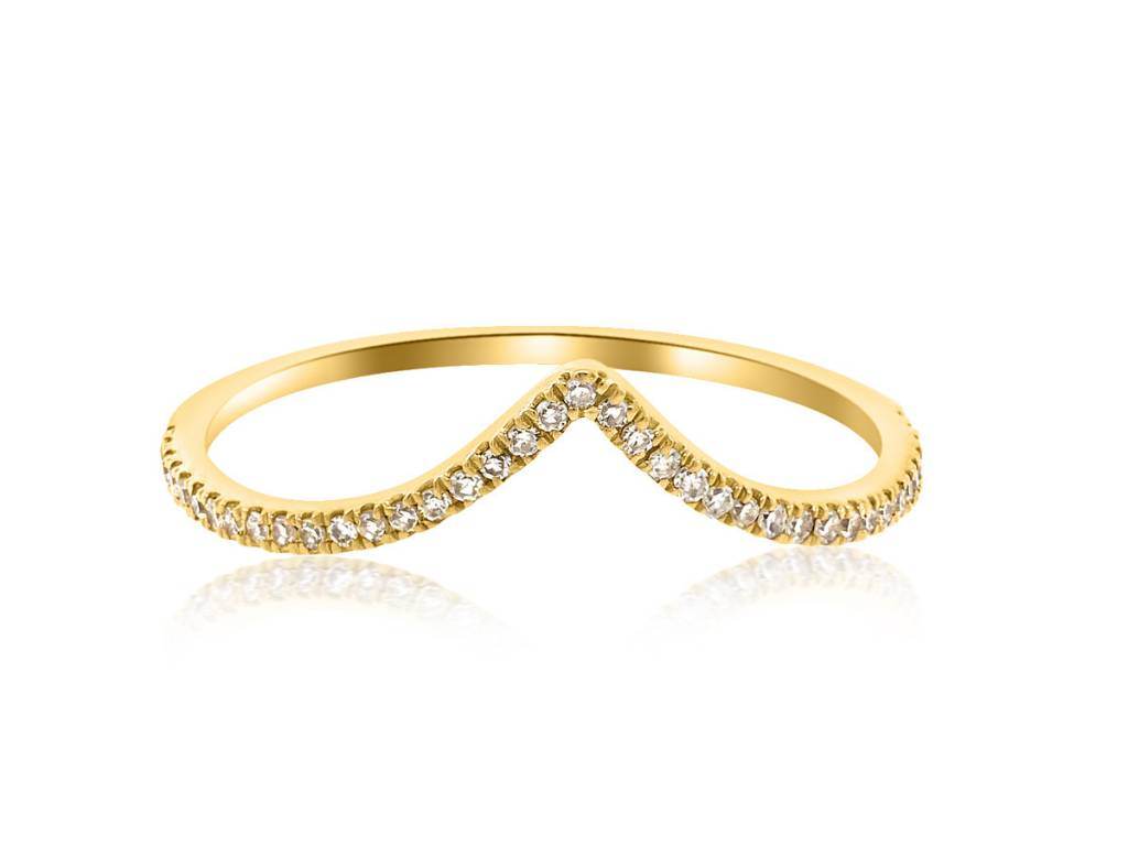 V Shaped Pave Diamond Yellow Gold Ring