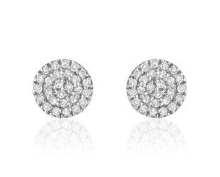 Liven Mini Pave Diamond Disc White Gold Earrings LN49