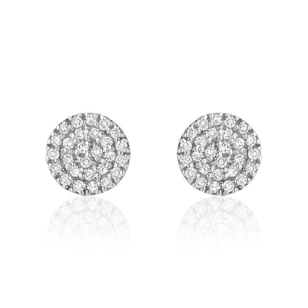 Liven Mini Pave Diamond Disc White Gold Earrings