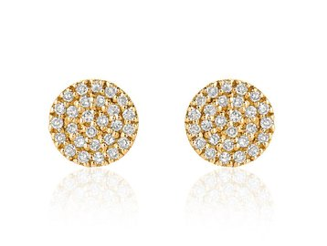 Liven Mini Pave Diamond Disc Gold Stud Earrings LN50
