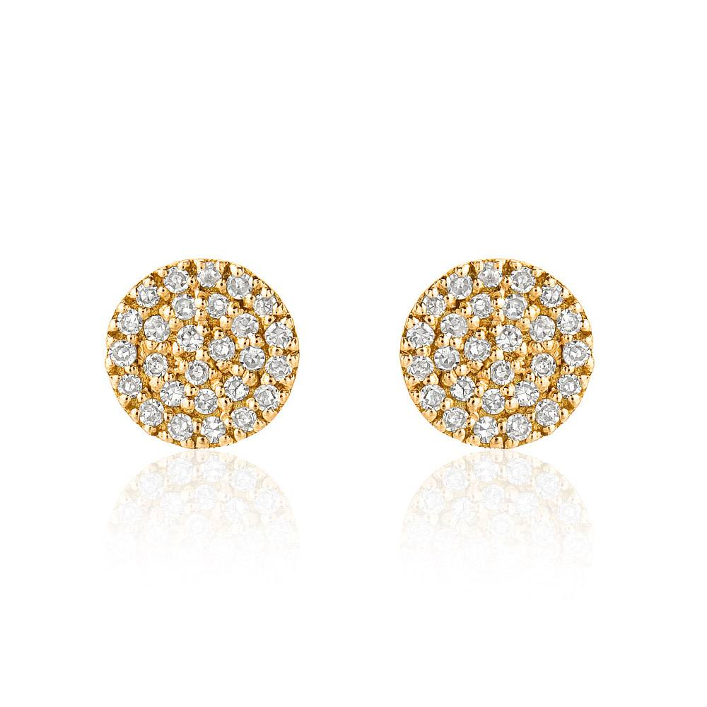 Liven Mini Pave Diamond Disc Gold Stud Earrings