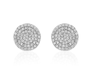 Liven Pave Diamond Disc White Gold Earrings LN52