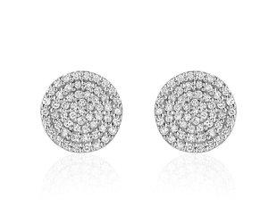 Liven Pave Diamond Disc White Gold Earrings LN52