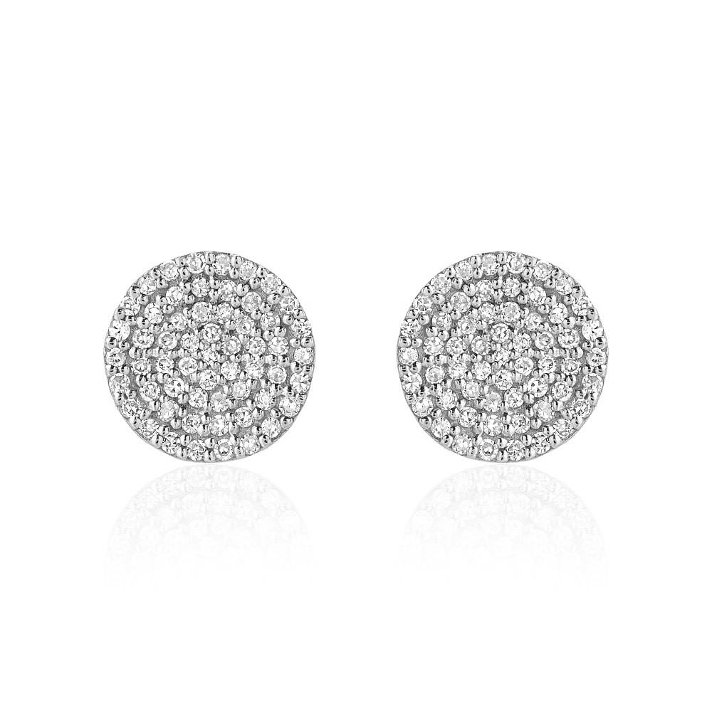 Liven Pave Diamond Disc White Gold Earrings