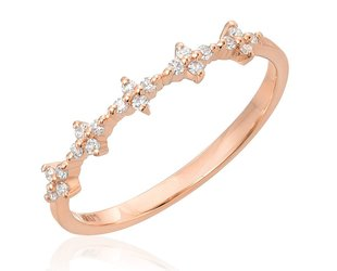 Spaced Floral Dia Rose Gold Half Band LN56