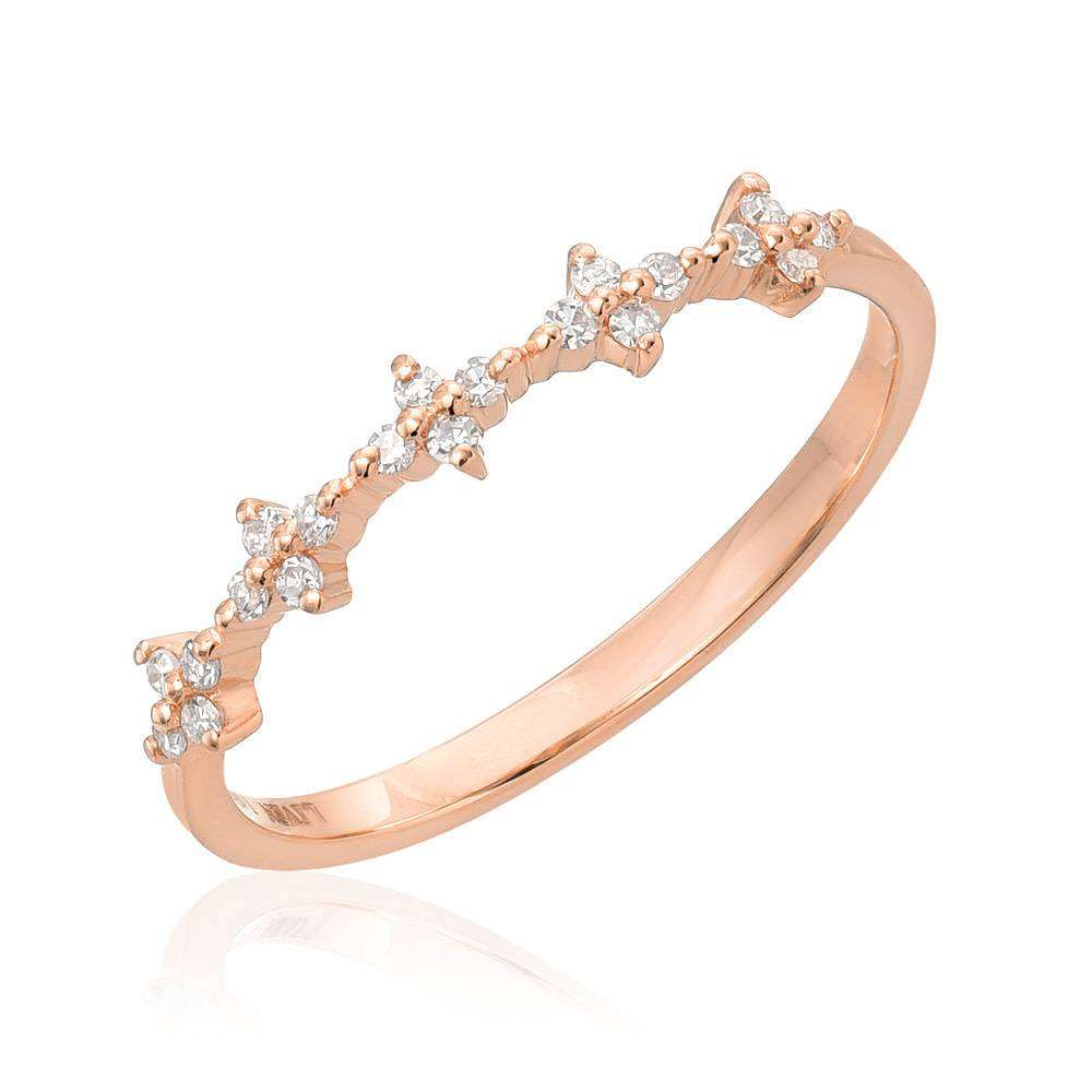 Spaced Floral Dia Rose Gold Half Band