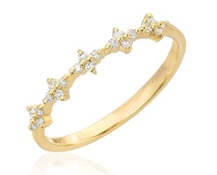 Liven Spaced Floral Diamond Gold Half Band LN57
