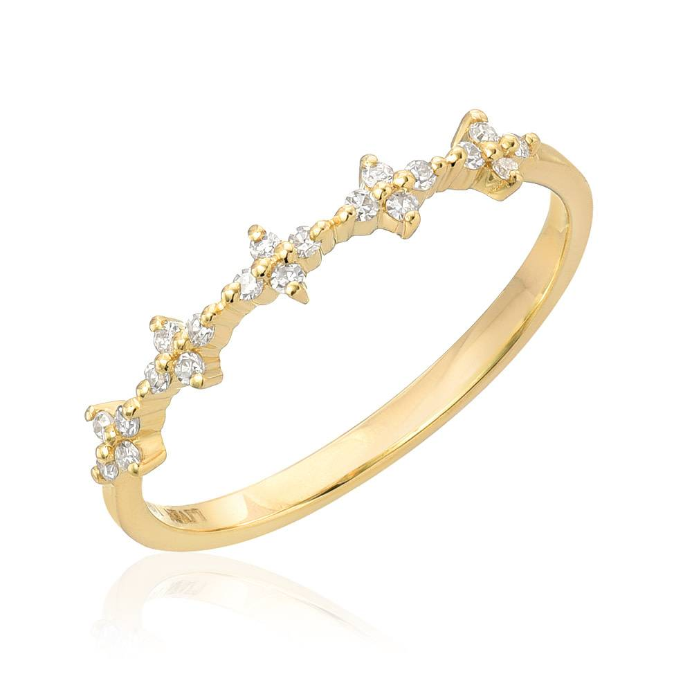 Liven Spaced Floral Diamond Gold Half Band