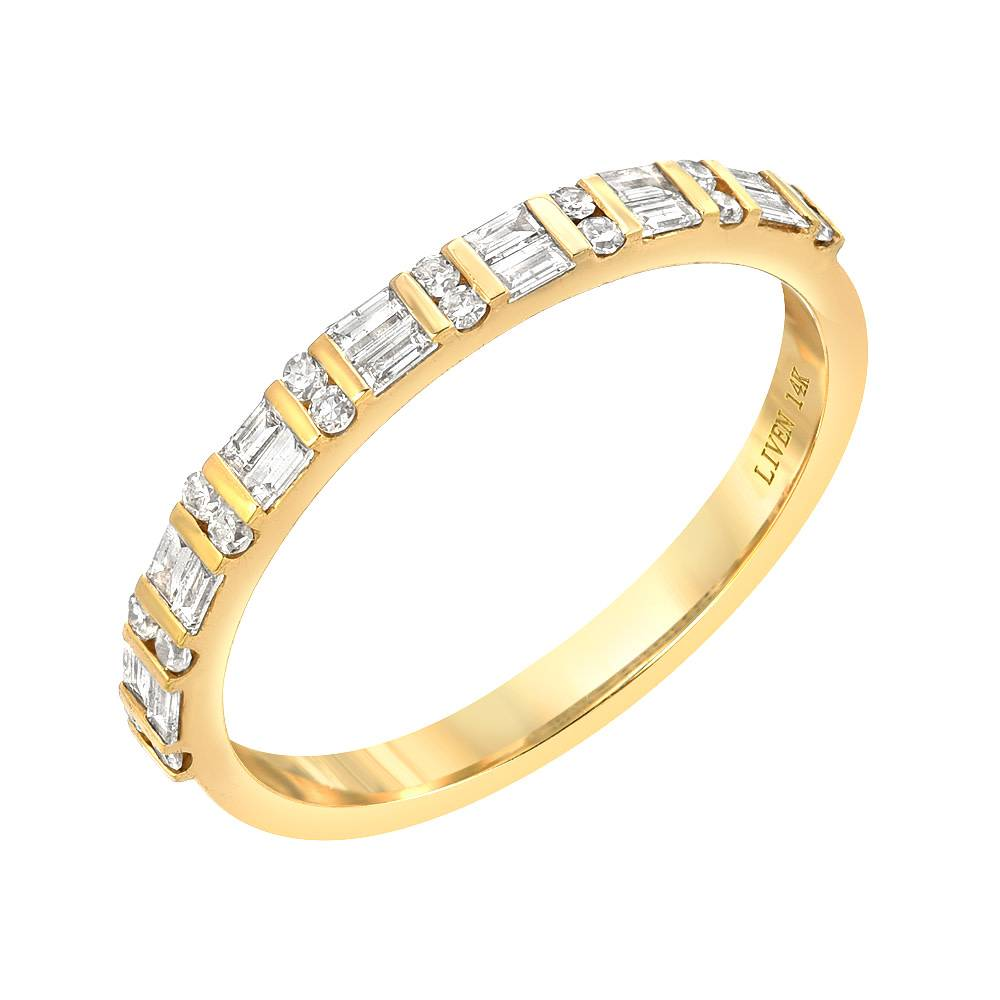 Liven Double Row Baguette Diamond Gold Band