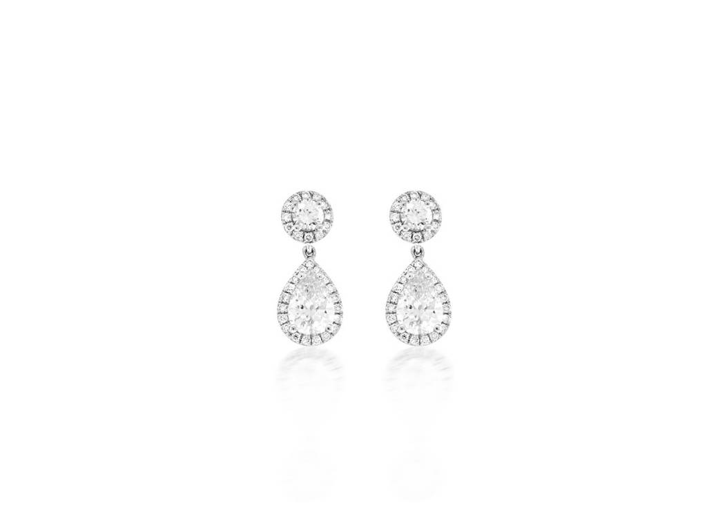 Trabert Goldsmiths 1.60ct Double Diamond Drop Halo Earrings