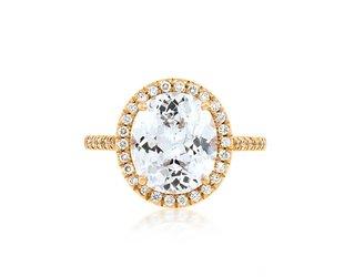 Trabert Goldsmiths 3.56ct White Sapphire Goddess Ring E1751