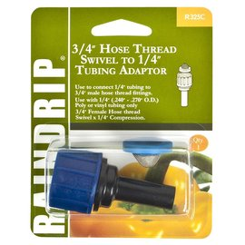 "Raindrip Hose Swivel, 3/4"" w 1/4"" Compression Adaptor"