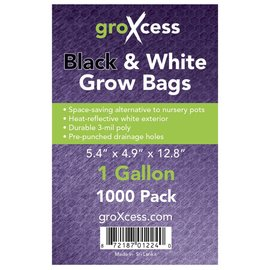 groXcess GroXcess Black & White Grow Bags, gal, 1000 Pack