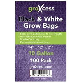 GroXcess Black & White Grow Bags, 10 gal, 100 Pack