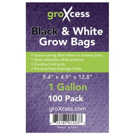 GroXcess Black and White Grow Bags gal 100 Pack