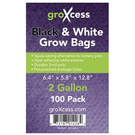GroXcess Black and White Grow Bags 2 gal 100 Pack