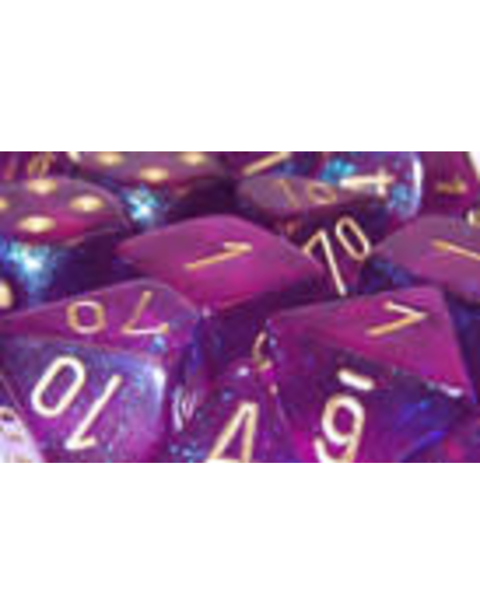 Chessex Polyhedral 7 Dice Set Borealis Royal Purple w/Gold CHX27467