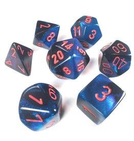 Chessex Polyhedral 7 Dice Set Gemini Black-Starlight w/Red CHX26458