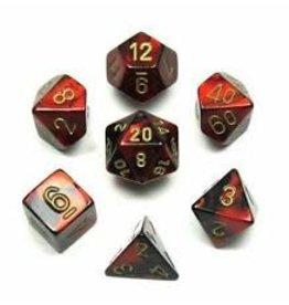 Chessex Polyhedral 7 Dice Set Gemini Black-Red w/Gold CHX26433