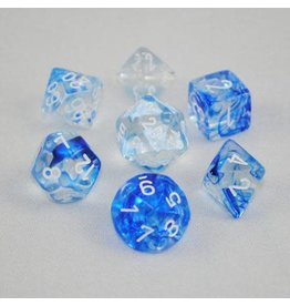 Chessex Polyhedral 7 Dice Set Nebula Dark Blue w/White CHX27466