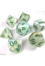 Chessex Polyhedral 7 Dice Set Marble Green/Dark Green CHX27409