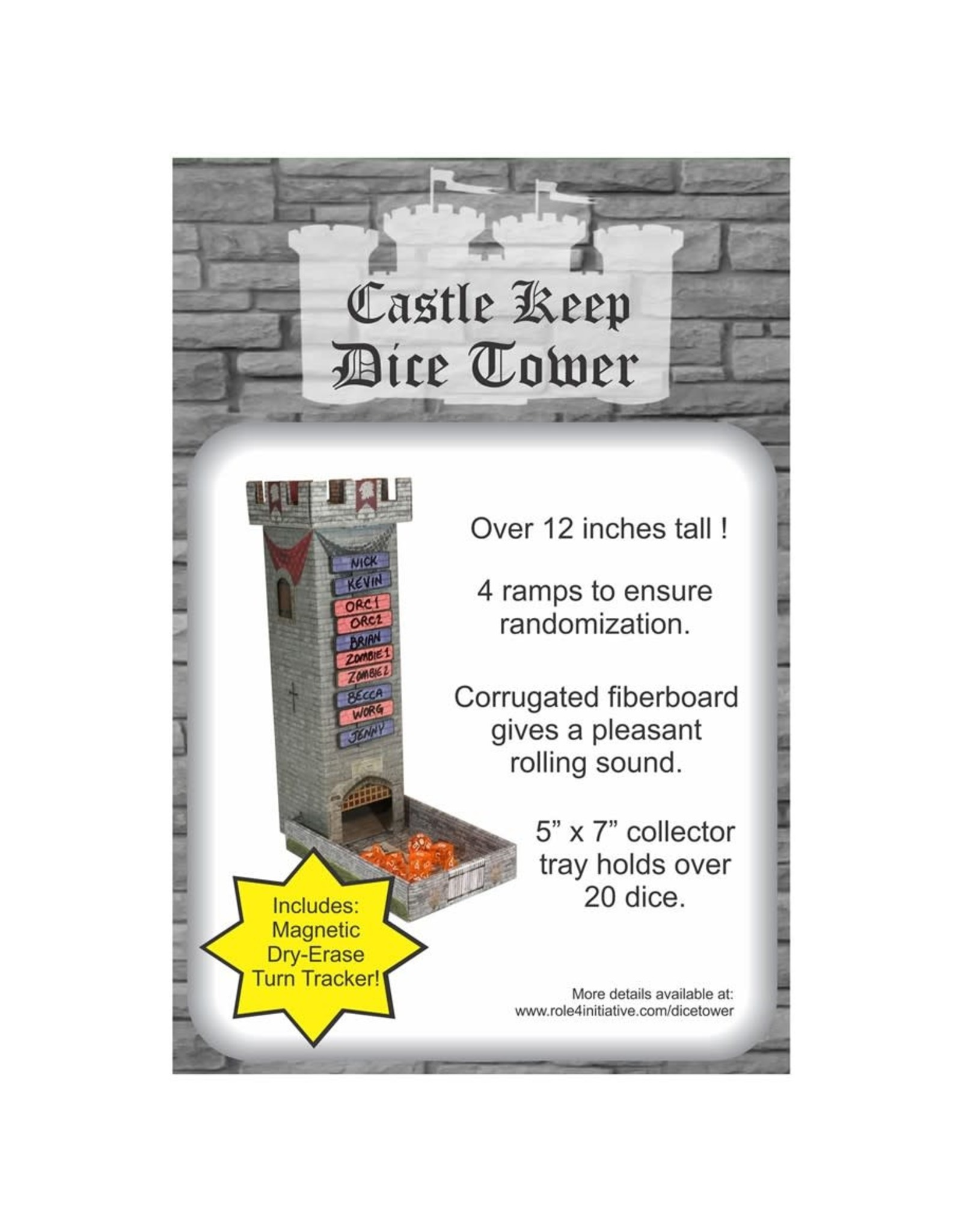 Role 4 Initiative Castle Keep Dice Tower with Magnetic Turn Tracker