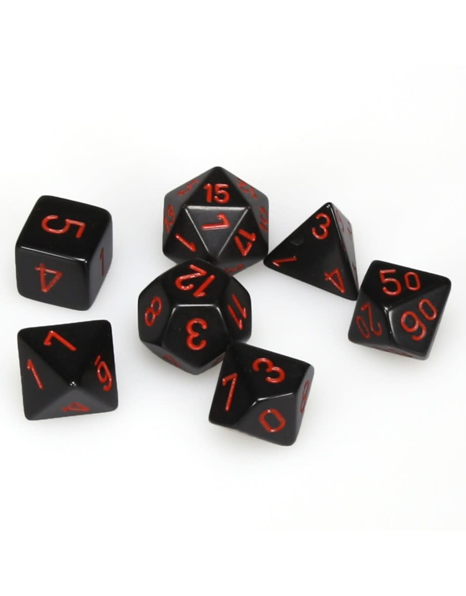 Chessex Polyhedral 7 Dice Set Opaque Black w/Red CHX25418