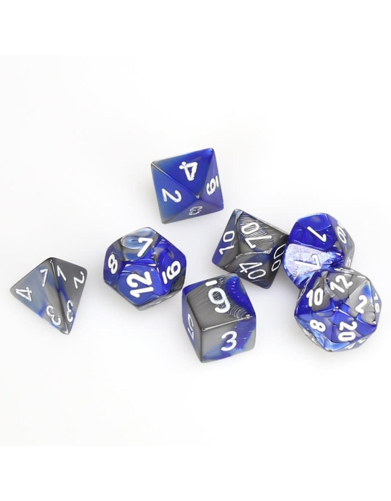 Chessex Polyhedral 7 Dice Set Gemini Blue-Steel w/White CHX26423