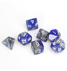 Chessex Polyhedral 7 Dice Set Gemini Blue-Steel w/White CHX26423