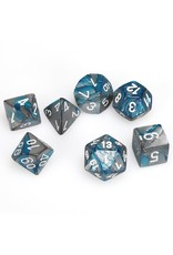 Chessex Polyhedral 7 Dice Set Gemini Steel-Teal w/White CHX26456
