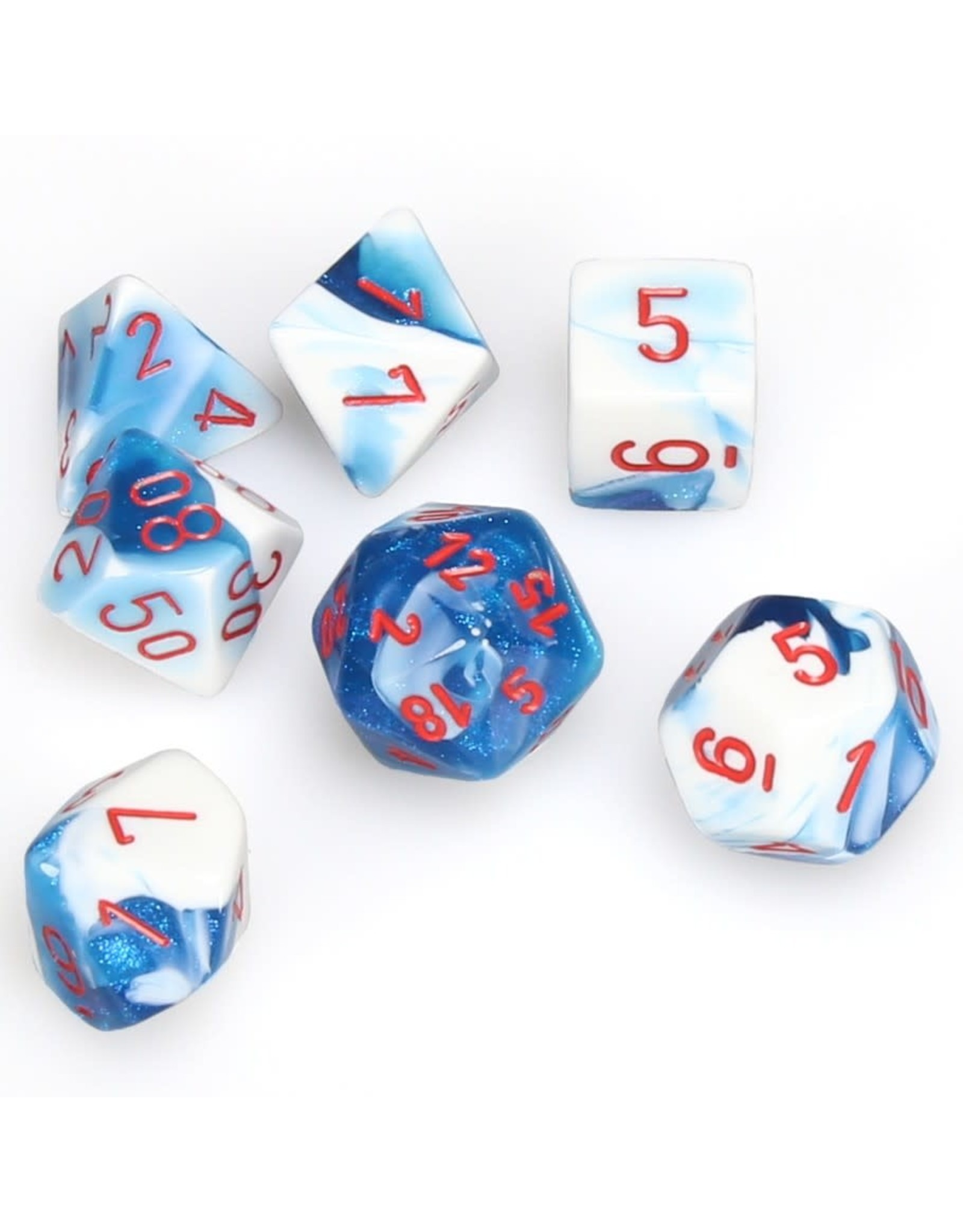 Chessex Polyhedral 7 Dice Set Gemini Astral Blue-White w/Red CHX26457