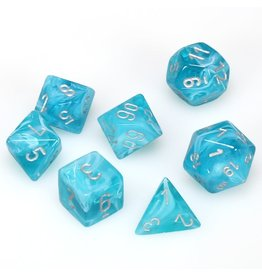 Chessex Polyhedral 7 Dice Set Cirrus Aqua w/Silver CHX27465