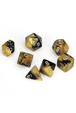 Chessex Polyhedral 7 Dice Set Gemini Black-Gold w/Silver CHX26451