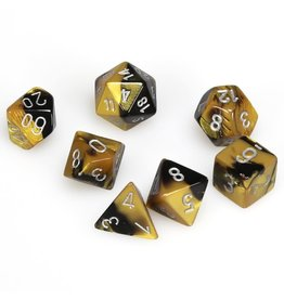 Chessex Polyhedral 7 Dice Set Gemini Black-Gold w/Silver CHX26451
