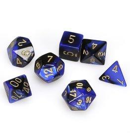 Chessex Polyhedral 7 Dice Set Gemini Black-Blue w/Gold CHX26435
