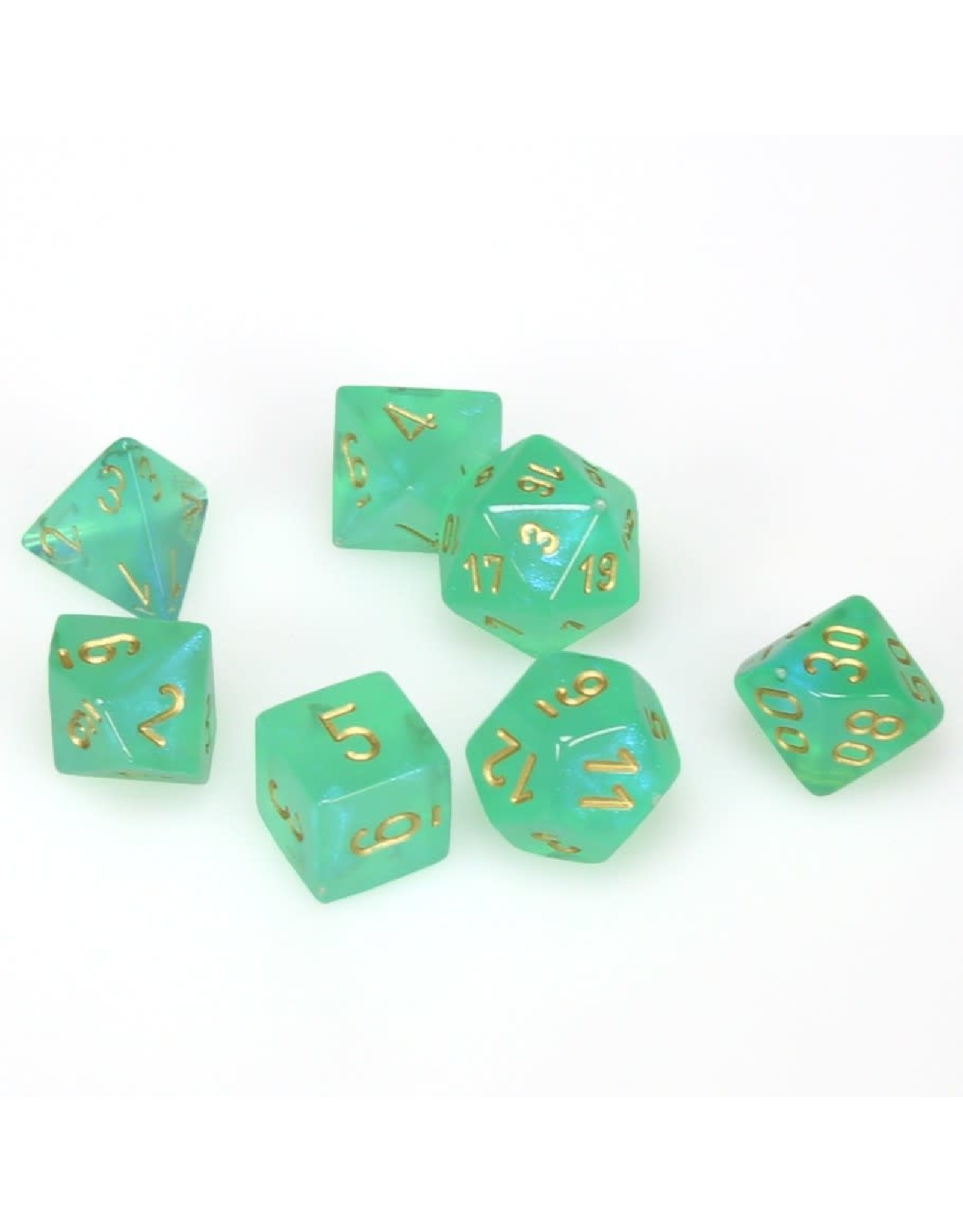 Chessex Polyhedral 7 Dice Set Borealis Light Green w/Gold CHX27425