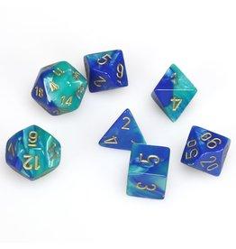 Chessex Polyhedral 7 Dice Set Gemini Blue-Teal w/Gold CHX26459