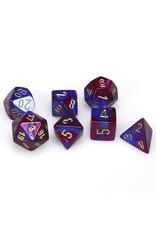 Chessex Polyhedral 7 Dice Set Gemini Blue-Purple w/Gold CHX26428