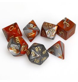 Chessex Polyhedral 7 Dice Set Gemini Orange-Steel w/Gold CHX26461