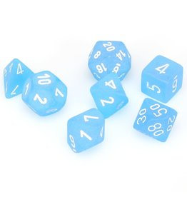 Chessex Polyhedral 7 Dice Set Frosted Caribbean Blue w/White CHX27416