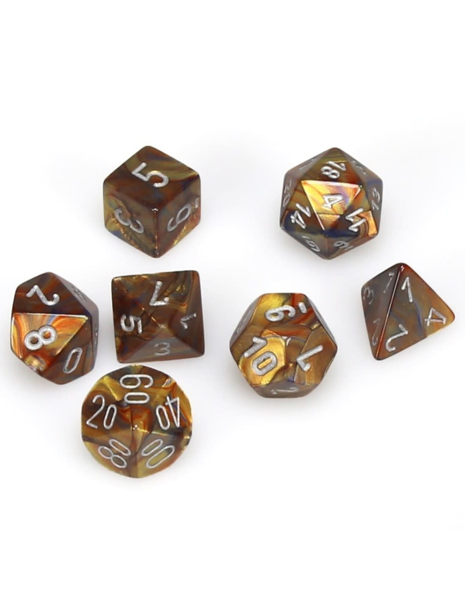 Chessex Polyhedral 7 Dice Set Lustrous Gold w/Silver CHX27493