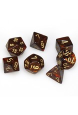 Chessex Polyhedral 7 Dice Set Scarab Blue Blood w/Gold CHX27419
